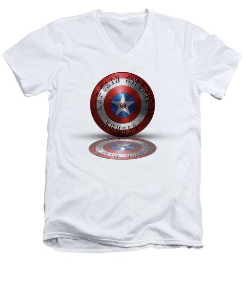 Captain America Typography On Captain America Shield  Men's V-Neck T-Shirt