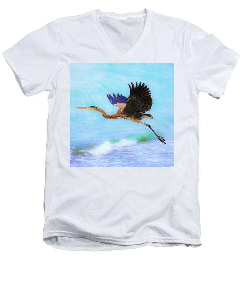 Captiva Crane In Flight Men's V-Neck T-Shirt