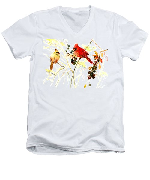 Cardinal Birds And Berries Men's V-Neck T-Shirt