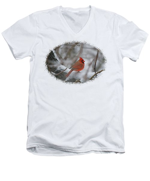 Cardinal On Snowy Branch Men's V-Neck T-Shirt by Larry Bishop