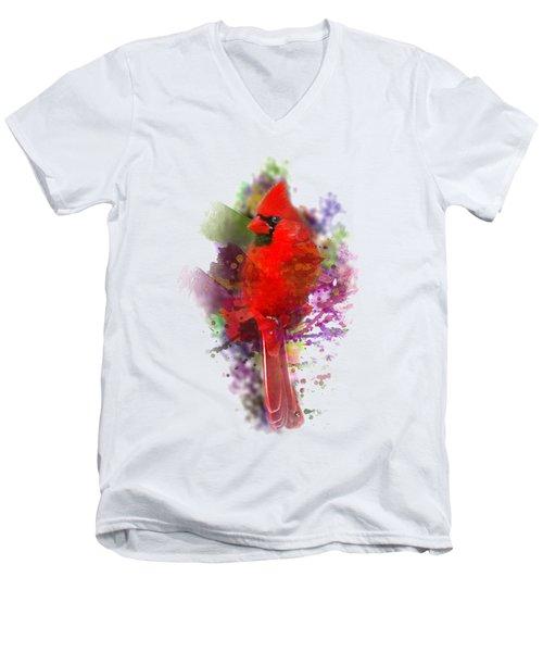 Cardinal Watercolor Men's V-Neck T-Shirt