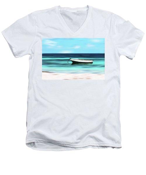 Caribbean Dream Boat Men's V-Neck T-Shirt by Deborah Smith
