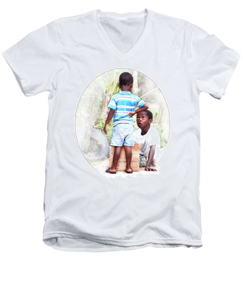 Caribbean Kids Illustration Men's V-Neck T-Shirt
