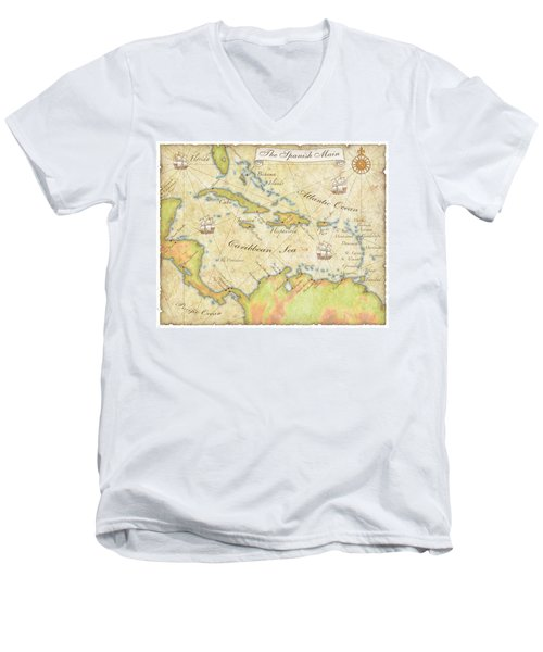 Caribbean Map - Good Men's V-Neck T-Shirt by Sample