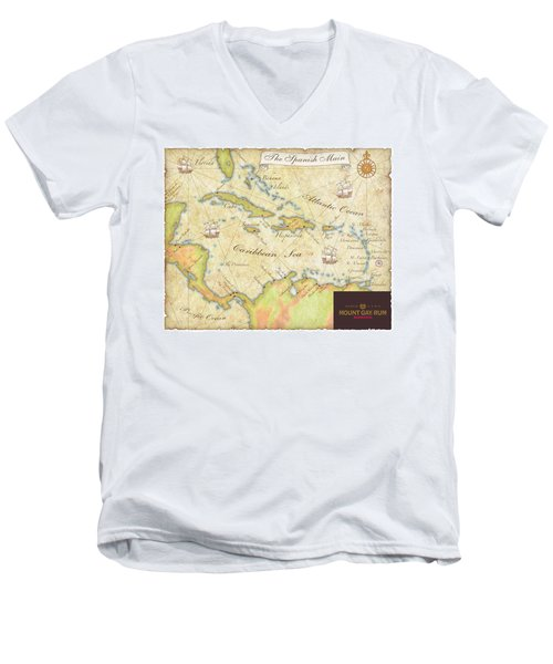 Men's V-Neck T-Shirt featuring the digital art Caribbean Map II by Unknown