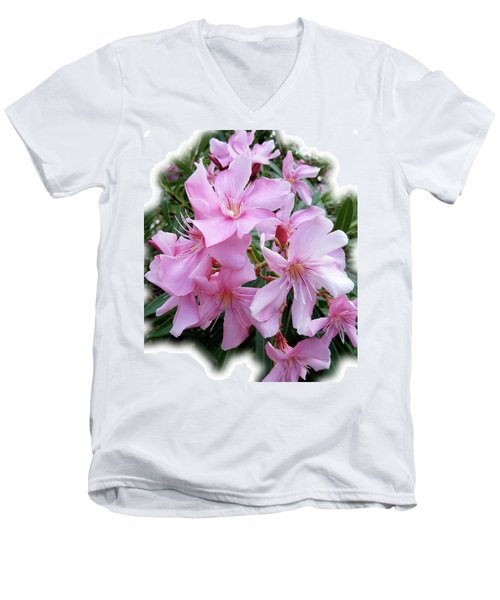 Men's V-Neck T-Shirt featuring the photograph Caribbean Oleander by Marie Hicks