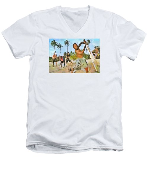 Men's V-Neck T-Shirt featuring the painting Caribbean Scenes - Cricket On De Beach by Wayne Pascall