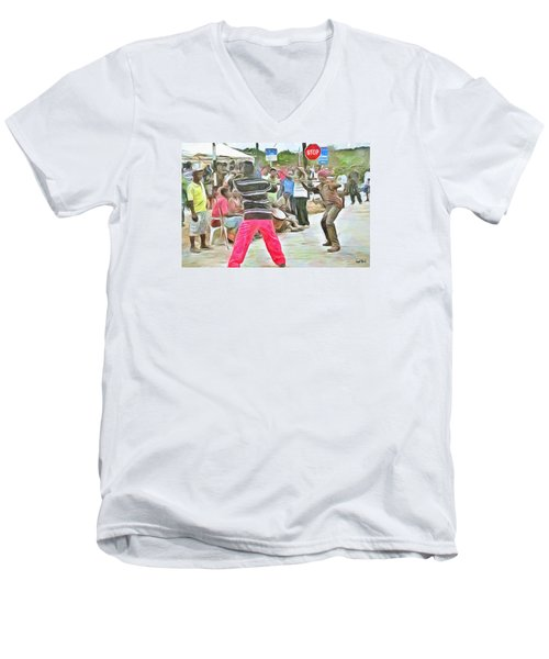 Men's V-Neck T-Shirt featuring the painting Caribbean Scenes - De Stick Fight by Wayne Pascall