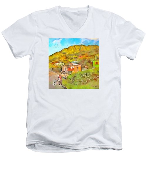 Men's V-Neck T-Shirt featuring the painting Caribbean Scenes - De Village by Wayne Pascall