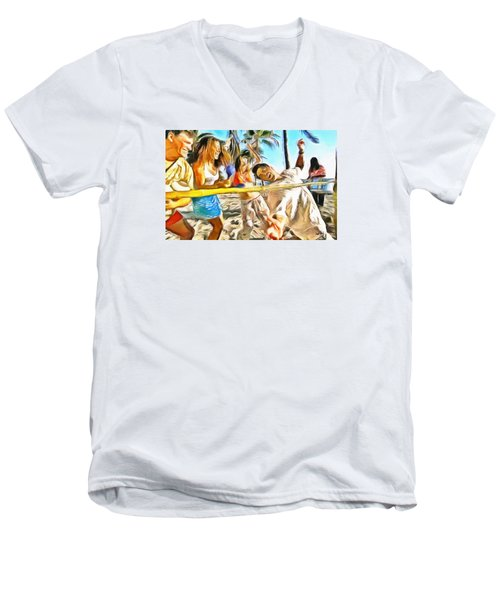 Men's V-Neck T-Shirt featuring the painting Caribbean Scenes - Limbo by Wayne Pascall