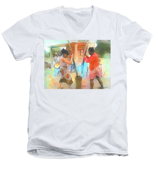 Caribbean Scenes - Mortar And Pestle In De Country Men's V-Neck T-Shirt