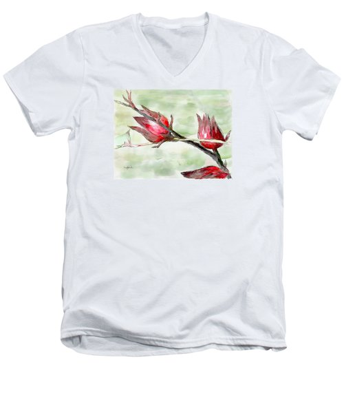 Caribbean Scenes - Sorrel Plant Men's V-Neck T-Shirt by Wayne Pascall