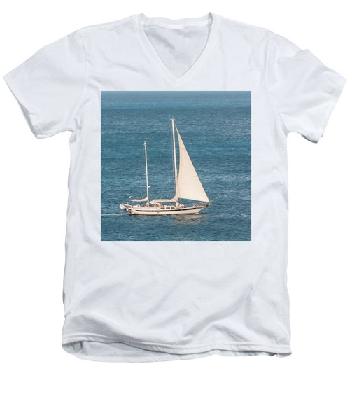 Men's V-Neck T-Shirt featuring the photograph Caribbean Scooner by Gary Slawsky