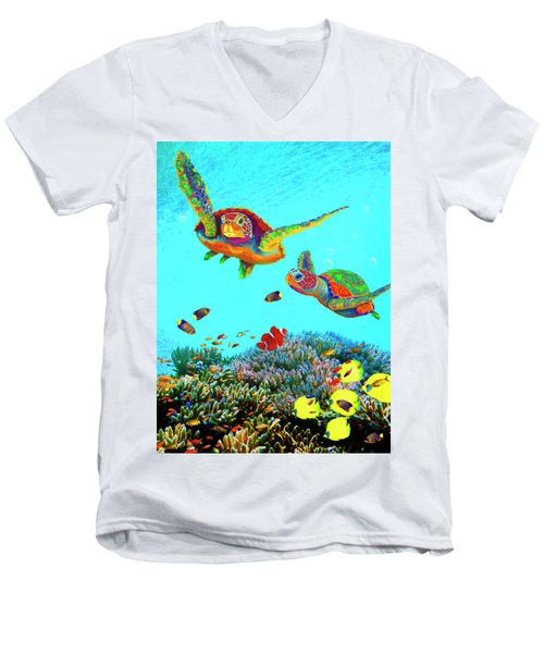 Caribbean Sea Turtles And Reef Fish Vertical Men's V-Neck T-Shirt