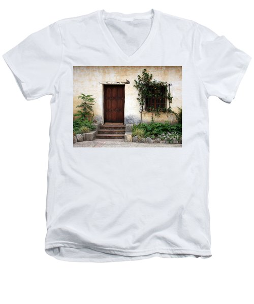 Carmel Mission Door Men's V-Neck T-Shirt