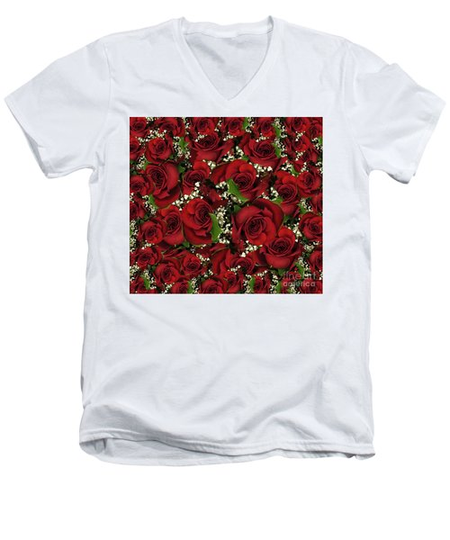 Men's V-Neck T-Shirt featuring the photograph Carmine Roses by Rockin Docks Deluxephotos