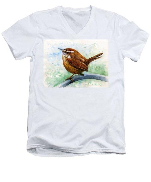 Carolina Wren Large Men's V-Neck T-Shirt by John D Benson