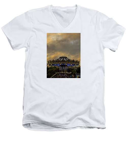 Carousel By The Eiffel Tower Men's V-Neck T-Shirt by Jean Haynes