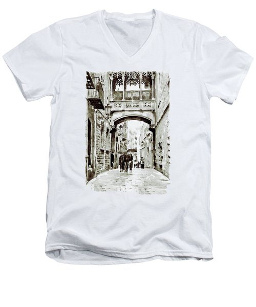Carrer Del Bisbe - Barcelona Black And White Men's V-Neck T-Shirt by Marian Voicu