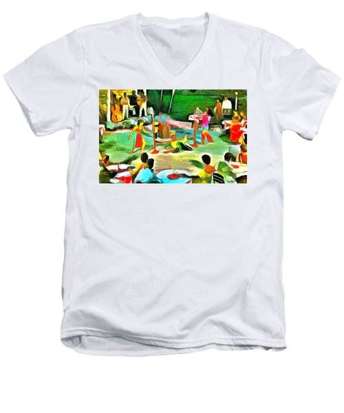 Carribean Scenes - Calypso And Limbo Men's V-Neck T-Shirt by Wayne Pascall