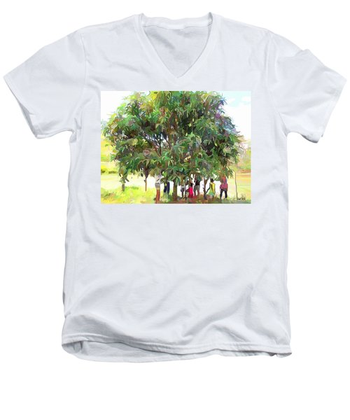 Carribean Scenes - Under De Mango Tree Men's V-Neck T-Shirt by Wayne Pascall
