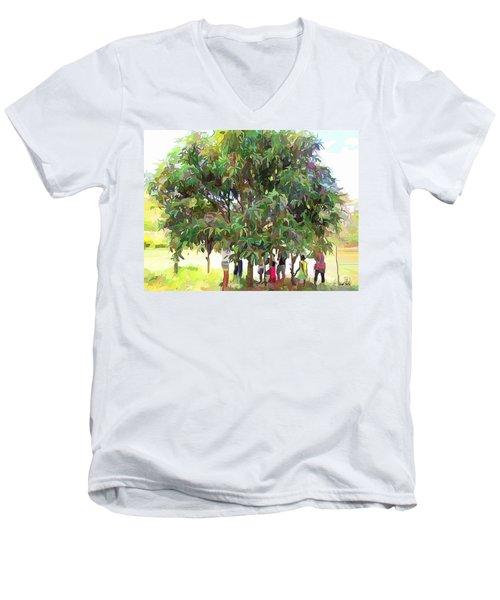 Carribean Scenes - Under De Mango Tree Men's V-Neck T-Shirt
