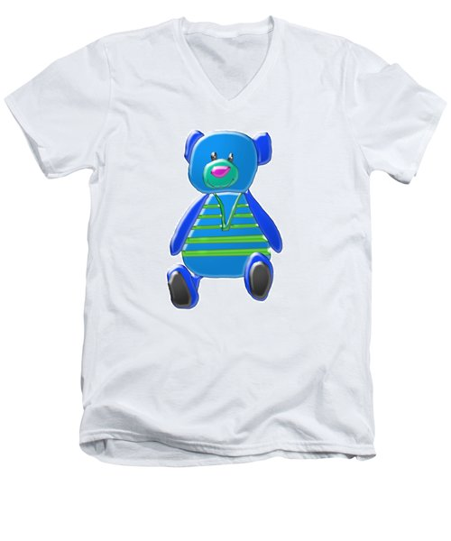 Men's V-Neck T-Shirt featuring the digital art Cartoon Bear In Sweater Vest by Karen Nicholson
