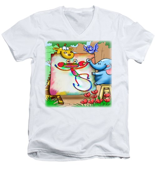 Cartoon Monkey Painting Men's V-Neck T-Shirt