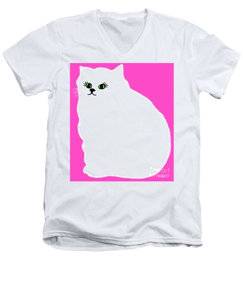 Men's V-Neck T-Shirt featuring the painting Cartoon Plump White Cat On Pink by Marian Cates