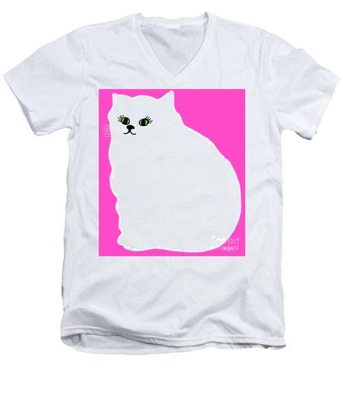 Cartoon Plump White Cat On Pink Men's V-Neck T-Shirt