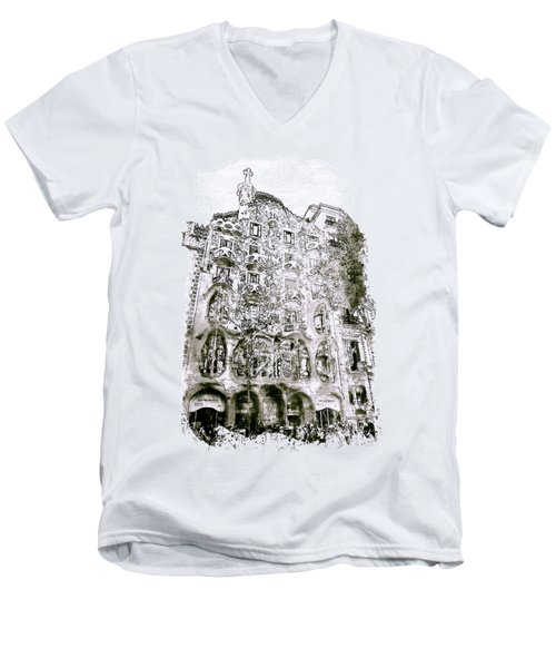 Casa Batllo Barcelona Black And White Men's V-Neck T-Shirt by Marian Voicu
