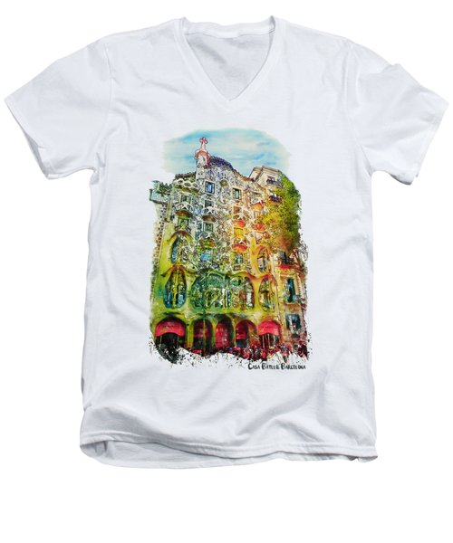 Casa Batllo Barcelona Men's V-Neck T-Shirt by Marian Voicu