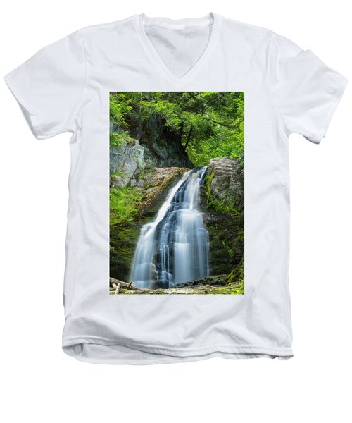 Men's V-Neck T-Shirt featuring the photograph Cascade Falls In South Portland In Maine by Ranjay Mitra