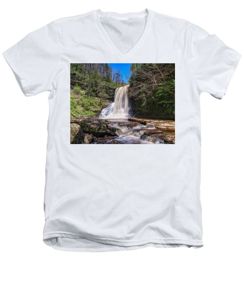 Cascade Falls In Spring Men's V-Neck T-Shirt