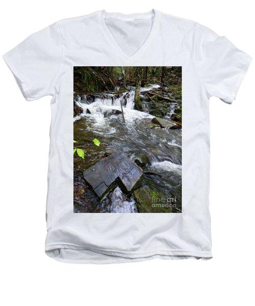 Cascade Falls Stream, Farmington, Maine  -30329 Men's V-Neck T-Shirt
