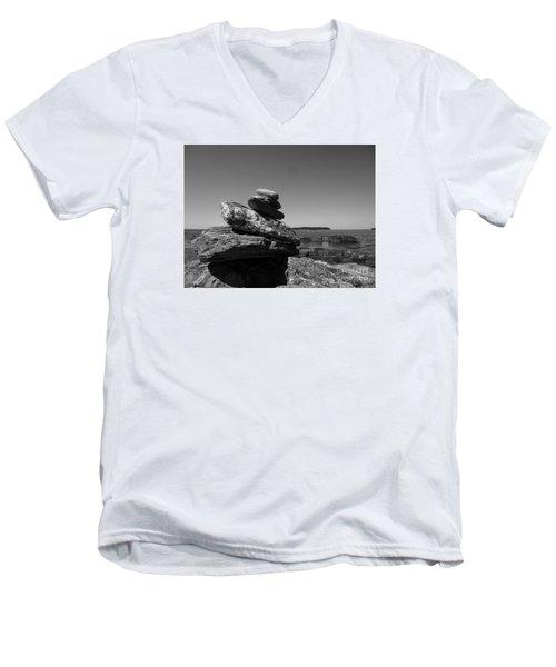 Casco Bay Cairn Bw Men's V-Neck T-Shirt by Barbara Bardzik