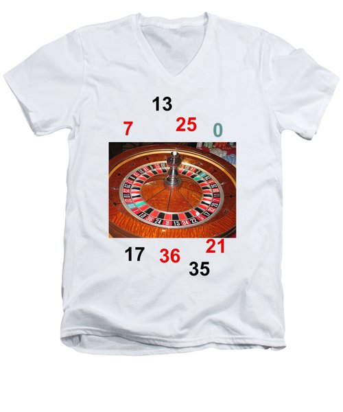 Casino Roulette Wheel Lucky Numbers Men's V-Neck T-Shirt by Tom Conway
