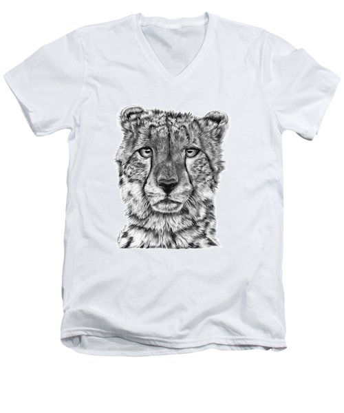 Men's V-Neck T-Shirt featuring the drawing Cassandra The Cheetah by Abbey Noelle