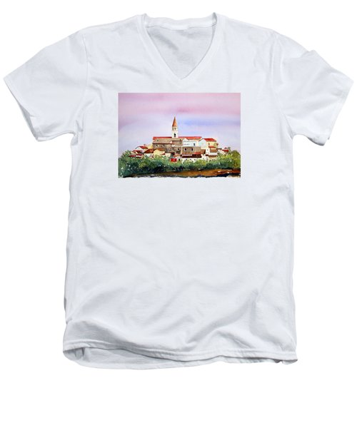 Men's V-Neck T-Shirt featuring the painting Castelnuovo Della Daunia by William Renzulli