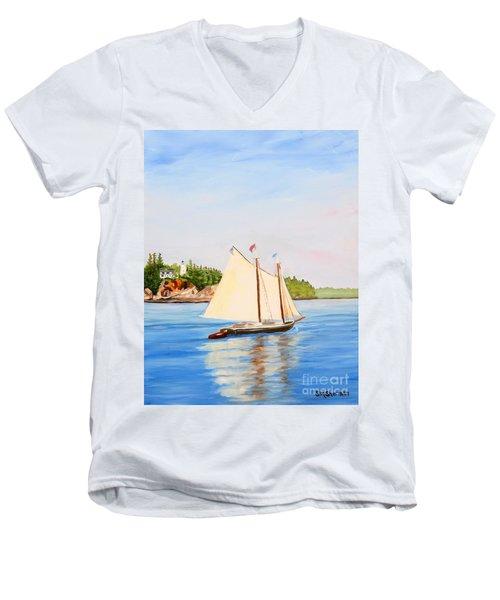 Castine Harbor And Dice Head Light Men's V-Neck T-Shirt