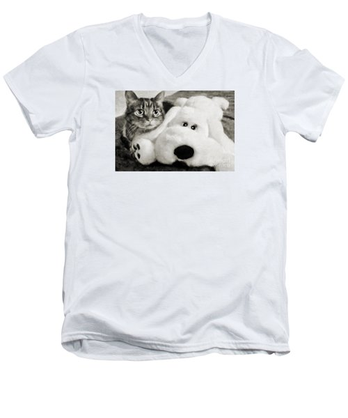 Men's V-Neck T-Shirt featuring the photograph Cat And Dog In B W by Andee Design