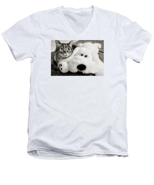 Cat And Dog In B W Men's V-Neck T-Shirt by Andee Design