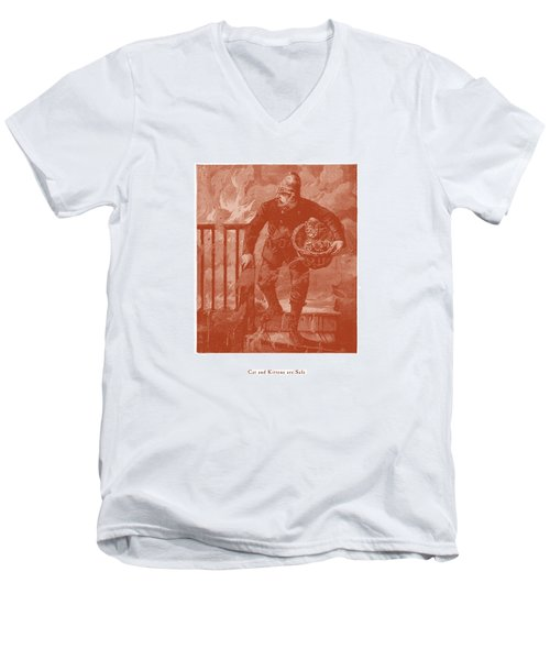 Men's V-Neck T-Shirt featuring the drawing Cat And Kittens Are Safe by David Davies