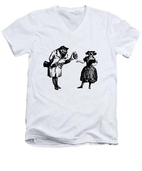 Cat And Mouse Grandville Transparent Background Men's V-Neck T-Shirt