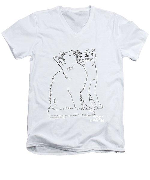 Cat-art-curious Men's V-Neck T-Shirt
