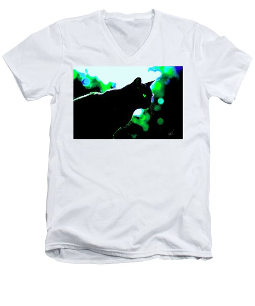 Cat Bathed In Green Light Men's V-Neck T-Shirt by Gina O'Brien