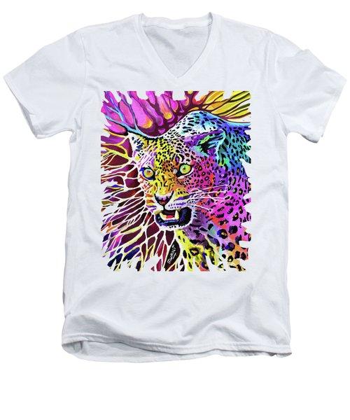 Cat Beauty Men's V-Neck T-Shirt by Anthony Mwangi