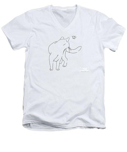 Cat-drawings-black-white-2 Men's V-Neck T-Shirt