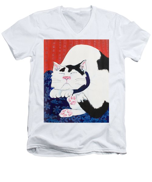 Cat I - Asleep Men's V-Neck T-Shirt by Leela Payne