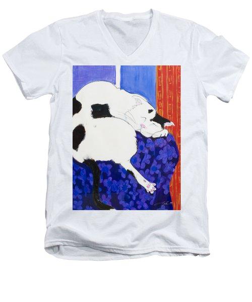 Cat IIi Peaceful   Men's V-Neck T-Shirt